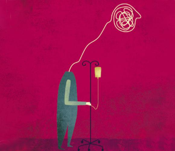 איור חולה עם אינפוזיה ובלגן בראש