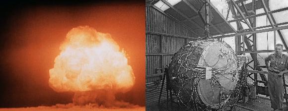 מימין: הפצצה הגרעינית הראשונה; משמאל: ניסוי טריניטי, הפיצוץ הגרעיני הראשון   צילומים: ממשלת ארצות הברית, נחלת הכלל
