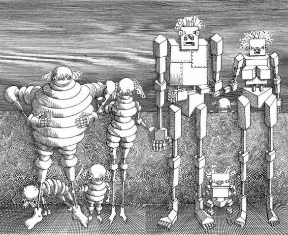 """גם רובוטים הם בני אדם   איור: דניאל מרוז. מתוך המהדורה הראשונה של """"הקיבריאדה"""""""