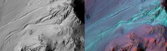ערוצונים במאדים בצילום של הלווין Mars Reconnaissance Orbiter. גם באפיון מינרלוגי (מימין) אין בהם סימנים למים זורמים | מקור: NASA/JPL-Caltech/UA/JHUAPL