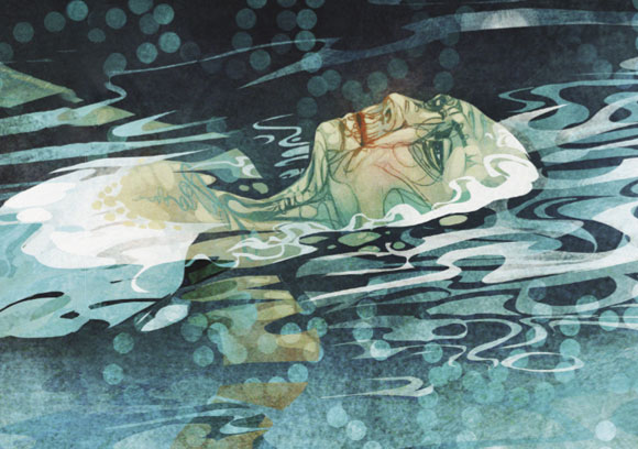 איור: אישה זקנה צפה במים שלווים