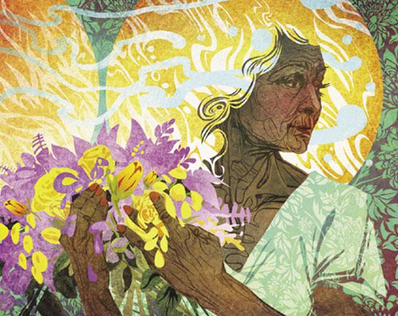 זקנה עם פרחים, איור