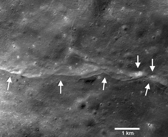 תוצאה של תהליך טקטוני ממושך. מצוק על הירח שצילמה החללית LRO | מקור:  NASA/GSFC/Arizona State University/Smithsonian