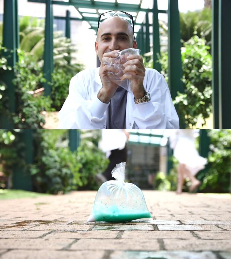 שקיות מתפוצצות בגלל 'לחץ של גזים' – כשדוחסים שקית (למעלה) וכשנוצר גז בתגובה כימית (למטה) | צילומים מתוך סרטון מדע בבית, צלם: רועי חובני