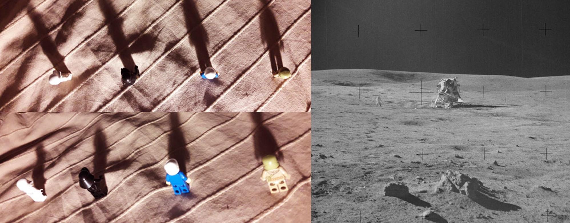 צל רכב הנחיתה נראה בכיוון אחר מצל הסלעים. אנשי הלגו ממחישים כמה הזווית והטופוגרפיה יכולים להטעות | NASA, איתי נבו