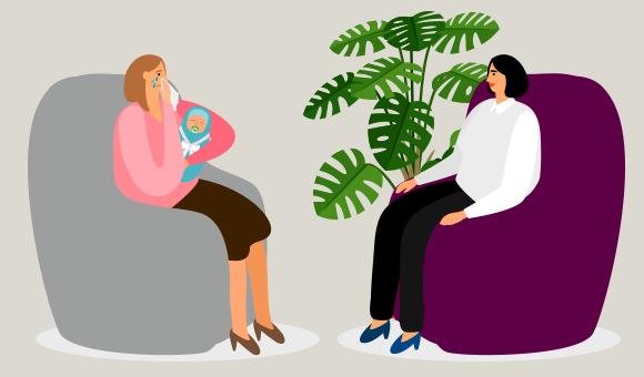 אם בוכה בטיפול פסיכולוגי | איור: StockSmartStart, Shutterstock