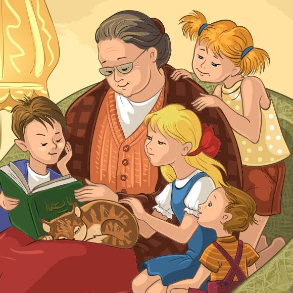 מידע שימושי: מי שהאריכו חיים שימרו את הידע הקולקטיבי, ממיומנויות ועד מורשת. סבתא עם נכדים | איור: Maria Starus, Shutterstock