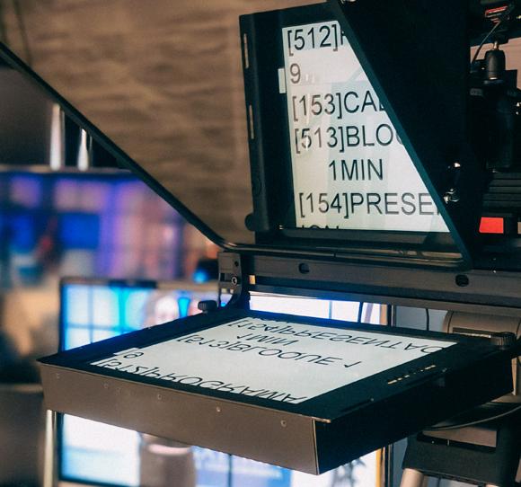 Kamera mit Teleprompter im Studio des Davidson-Instituts | Foto: Avi Sayag