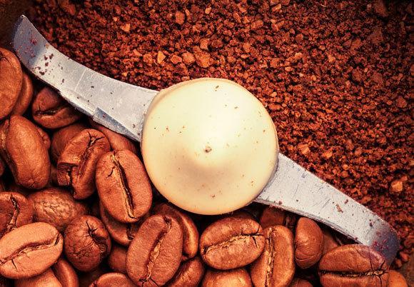 פולי קפה נטחנים במטחנה חשמלית | Shutterstock, Bobkov Evgeniy
