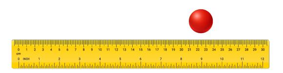 הכדור נמצא במיקום אחד מסוים, שאפשר לתאר לפי המספרים על הסרגל | איור: Avector, Shutterstock, מריה גורוחובסקי