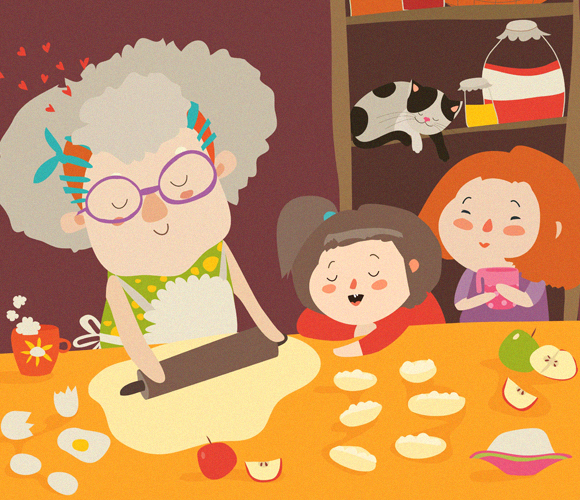 ההשערה: נשים מסייעות להעברת הגנים שלהם לדורות הבאים באמצעות השקעה בנכדים. סבתא אופה עוגיות עם הנכדים | איור: Shutterstock