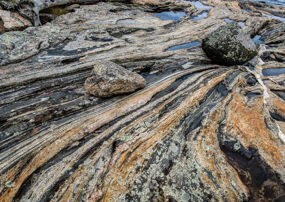 פסים שחורים ולבנים לסירוגין, שהמנגנון שיצר אותם עדיין לא ברור די הצורך. סלעי גנייס במפרץ בצפון קנדה | צילום: Shutterstock ,Gerry Bishop
