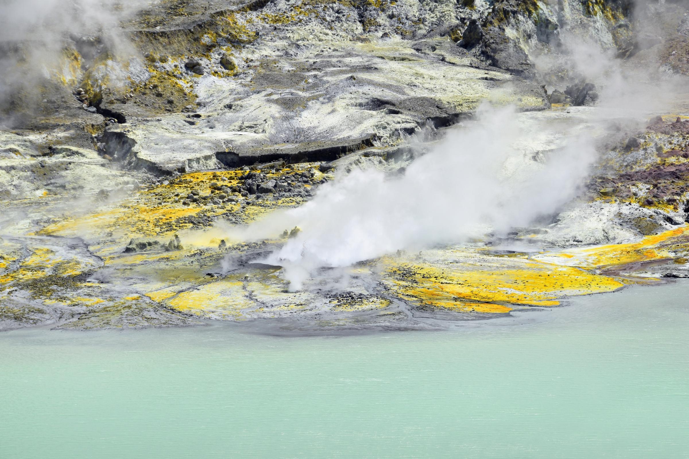 פולט גזים כבר 250 שנה. האי וייט בניו זילנד, שם התפרץ הר הגעש ואקאארי בדצבר 2019 | צילום: Shutterstck