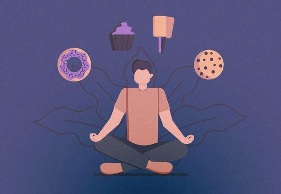 ציור של אדם בתנוחת מדיטציה עם מאכלים מתוקים מעל ראשו | Shutterstock