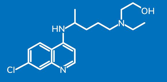 לפי המחקרים הראשוניים התרופה לא מונעת מוות מקורונה, ולא ברור אם היא מזיקה. מבנה המולקולה של הידרוקסיכלורוקווין | מקור: Z1HAM, Shutterstock
