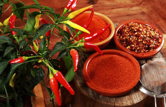 نبات الفلفل الحارّ (تشيلي)، الفلفل الحارّ المطحون ومسحوق الفلفل الحار تصوير: SteAck ، Shutterstock