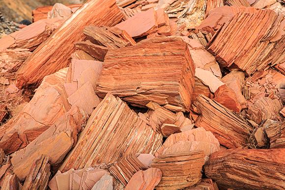 שיכוב עדין שגור לסלע להתפצל לאורך מישורים מקבילים. סלעי פצלים אדמדמים | צילום:  Maksim Maksimovich, Shutterstock