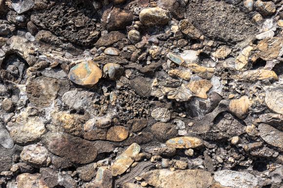 חלוקי סלע גדולים יחסית שהתלכדו מחדש. סלעי קונגלומרט (תלכיד) סמוך לאגם ז'נבה בשוויץ | צילום: Ad Gr, Shutterstock