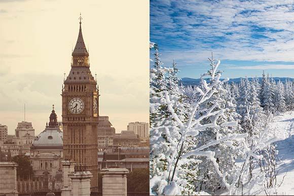 יש גורמים נוספים מלבד זווית השמש. לונדון (משמאל) נמצאת באותו קו רוחב כמו מזרח קנדה (מימין), אך הטמפרטורות שם בחורף גבוהות יותר | Shutterstock, Daniel Gale, Marc Bruxelle