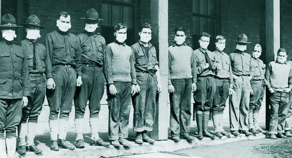 מסדר מסכות הגנה בבית חולים ב-1919