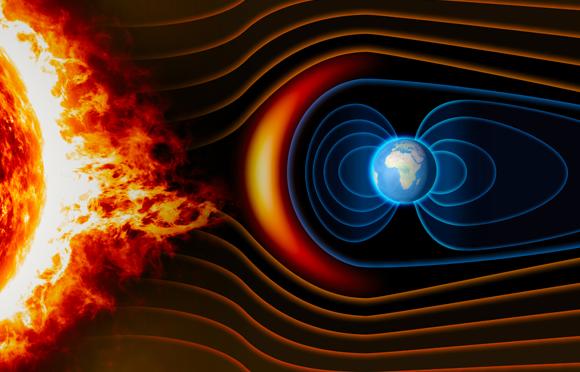 השדה המגנטי מונע מהרוח הסולרית לפגוע בכדור הארץ | איור: Naeblys, Shutterstock
