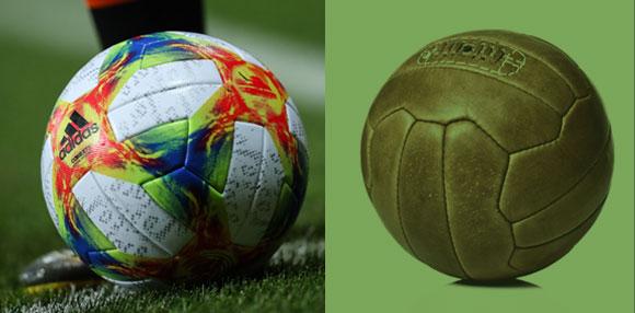 נגיחות כואבות. בעבר הכדורים יוצרו מעור קשיח (מימין) כיום הם עשויים מחומרים סינתטיים | צילומים: Shutterstock