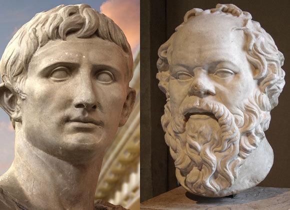 סוקרטס היווני והמזוקן (מימין), לצד יוליוס קיסר הרומאי, חלק הסנטר | Shutterstock, Fernando Cortes, Wikipedia, Sting