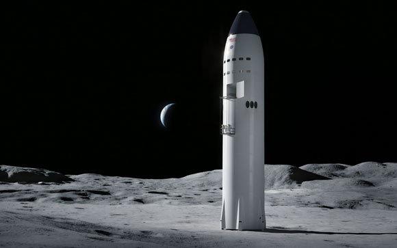 הדמיה של Starship על הירח | מקור: SpaceX