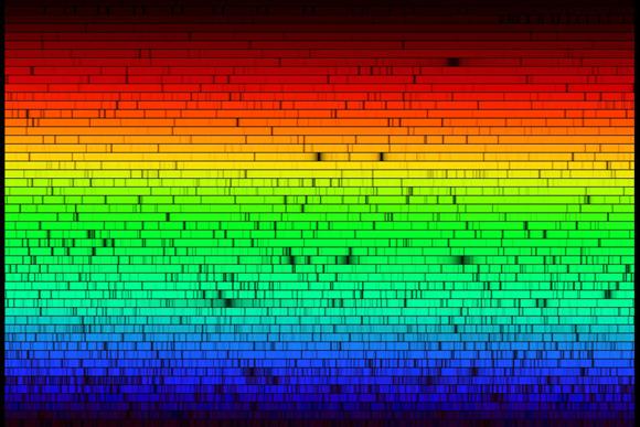 ספקטרום האור של השמש שלנו. פסי הבליעה השחורים מעידים על החתימה הכימית של הרכבה | מקור: NOAO