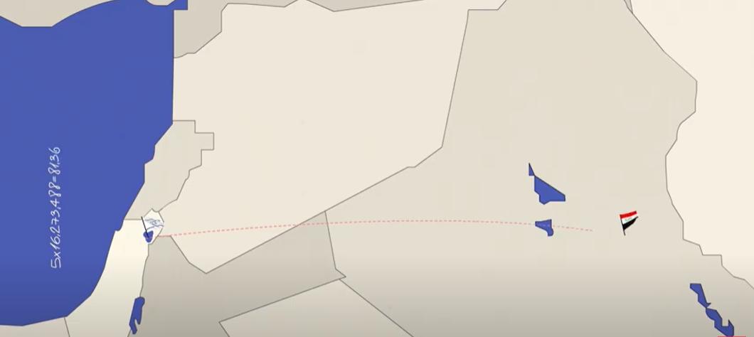מפת המזרח התיכון עם שביל מהכינרת עד בגדד