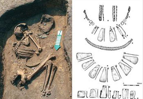 השלד שהתגלה באתר אוסלונקי בפולין ורישום התכשיטים שנמצאו עליו | מקור: מאמר המחקר