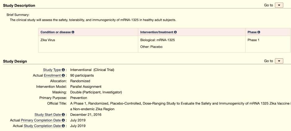 דף המידע על ניסוי שלב 1 של מודרנה בחיסון mRNA לנגיף זיקה | הספרייה הלאומית לרפואה בארצות הברית